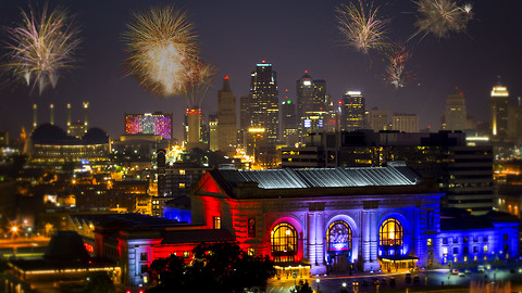 Fireworks in slow motion over Downtown Kansas City