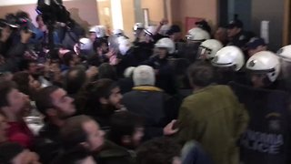 Protesters Clash With Police at Athens Court House in Attempt to Prevent Property Auctions - Video