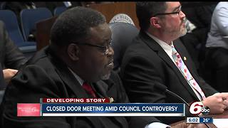Democrats met behind closed doors Thursday to discuss possible action about City-County Council President Stephen Clay - Video