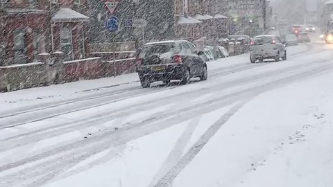 Heavy Snow Showers in Town of Ballymena