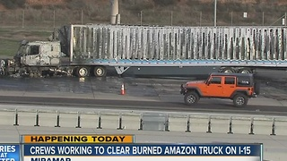 Fire destroys Amazon delivery truck on Interstate 15 at Miramar Way - Video
