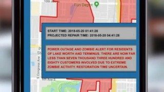 City of Lake Worth warns residents of power outage, zombies - Video