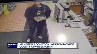 Man steals donation jar from metro Detroit A&W restaurant - Video