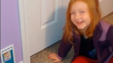 A tiny door appears in this girl's bedroom. Her reaction when she finds out why is priceless!