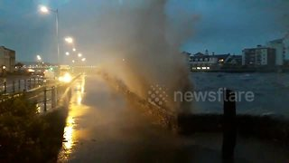 Weston-super-Mare seafront floods at high tide - Video