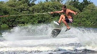 Epic wakeskating stunts captured in slow motion