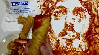 Welsh Artist Paints Portrait of Jesus Using Sausage Roll - Video