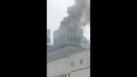 Massive building fire happening on East 66th Street in NYC