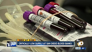 Critically low supply at San Diego Blood banks