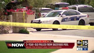 3-year-old pulled from backyard pool in Phoenix - Video