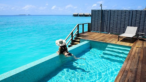 Inside a water pool villa in Kuramathi, Maldives