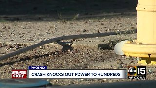 Hundreds without power after car crashes into Phoenix power pole