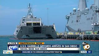 USS Gabrielle Giffords arrives in San Diego - Video