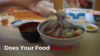 Dancing Squid Bowl Dish In Hakodate - Video