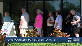 One hour left to register to vote