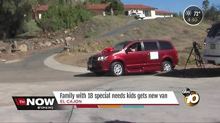 Family with 18 special needs kids gets new van - Video