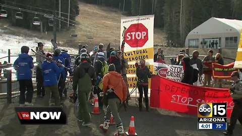 Demonstrators protested outside Arizona Snowbowl on opening day