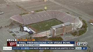Field at Sam Boyd Stadium being prepared for game