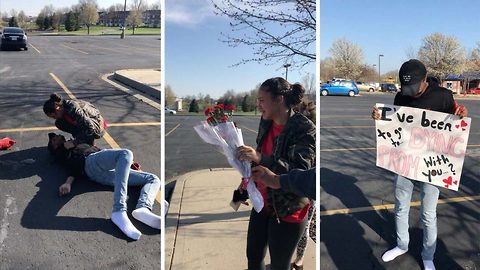 'I've been dying to ask you to prom': Hilarious prankster boyfriend fakes death in risky promposal leaving his girlfriend traumatised before reluctantly saying yes