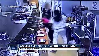 George Webb waitress hit by customer suffered concussion - Video