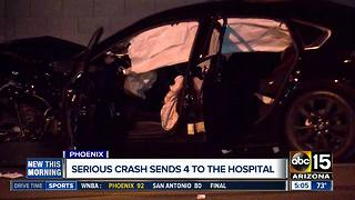 Serious crash sends four to hospital in West Phoenix