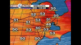 High winds continue into Monday morning