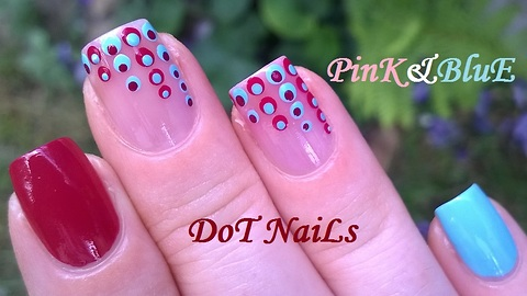 Gradient Sheer Pink Dotticure Nail Art Design