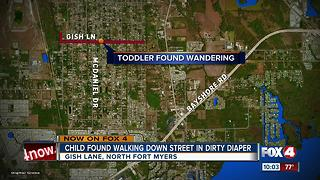 Toddler coverd in bug bites found walking down street in dirty diaper