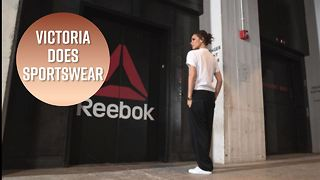Victoria Beckham wears flats to Reebok offices - Video