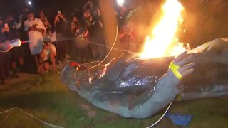 DC protesters pull down, burn statue of Confederate general