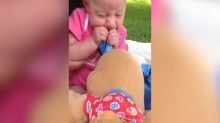 Baby Girl Bites On Her Puppy Toy - Video