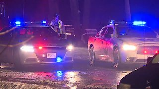 One person transported after car vs. plow crash