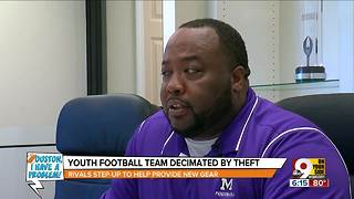 Rival football teams come together after theft