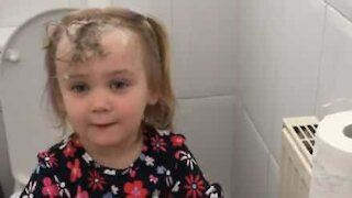 Girl caught washing hair with toilet paper