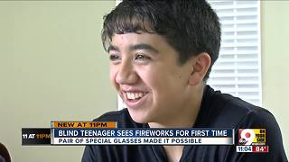 Legally blind teen watches first-ever fireworks - Video