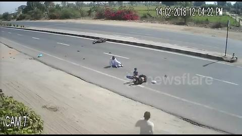 Family miraculously escapes after speeding jeep hits motorcycle