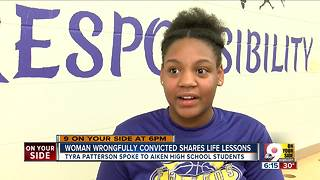 Woman wrongfully imprisoned talks to high schoolers - Video