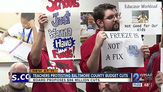 Baltimore County teachers protest school system's budget cuts