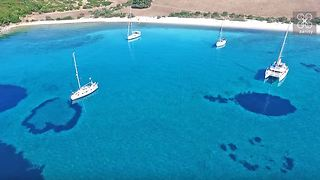 Drone captures secret sailor's paradise cove in Greece - Video