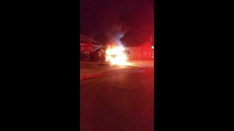 Flames engulf pickup truck 'hit by firework' in Las Vegas neighbourhood during Independence Day celebrations