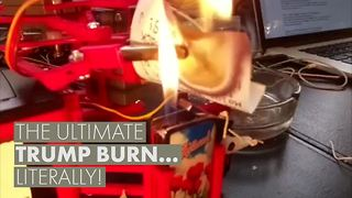 Mystery savior invents epic Trump burn machine - Video