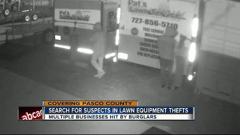 Search for suspects in lawn equipment thefts