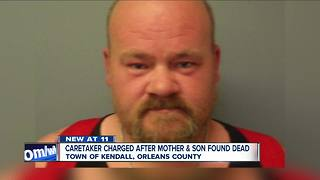 Caretaker charged after mother & son found dead - Video
