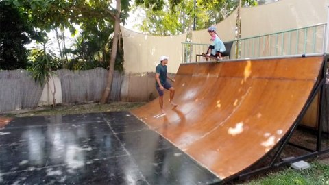 Adorable three-year-old skateboarder drops down six-foot-tall ramp more than twice her height
