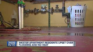 Inkster apartment residents upset over flooding and no heat - Video