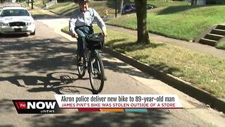 89-year-old veteran receives special gift from Akron police after bike was stolen from a parking lot - Video