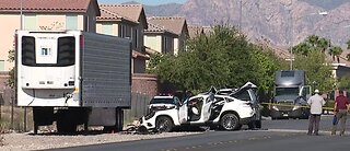 Car crashes into parked trailer | Breaking