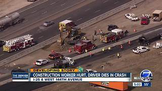 Rollover crash in construction zone on I-25 kills driver, critically injures worker - Video