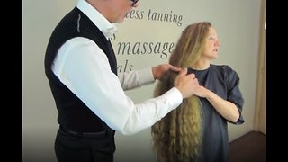 Woman Cuts Off Three Feet Of Hair - Video