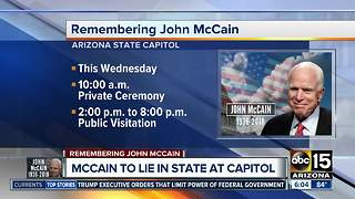 McCain to lie in state at Arizona State Capitol